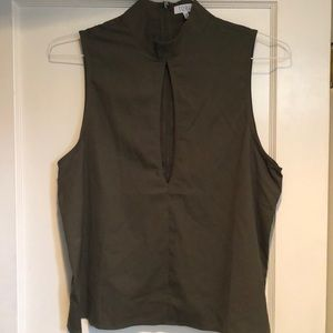 Army Green top with slit, size L